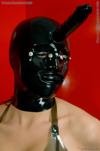 Mask with internal condom and dildo
