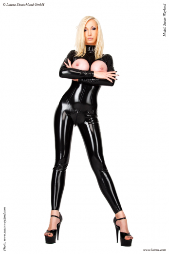 Catsuit with open breasts