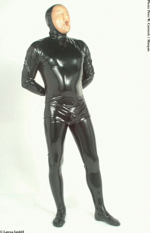 Catsuit with feet and zipper through crotch