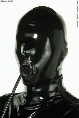 Mask with pump and internal penis-gag