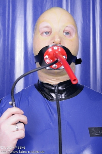 Inflatable gag harness breathing tube option lockable