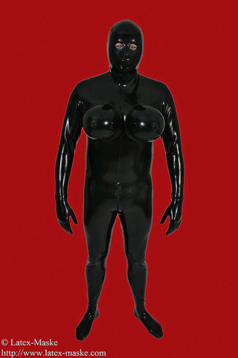 Transvestite Catsuit with inflatable breast